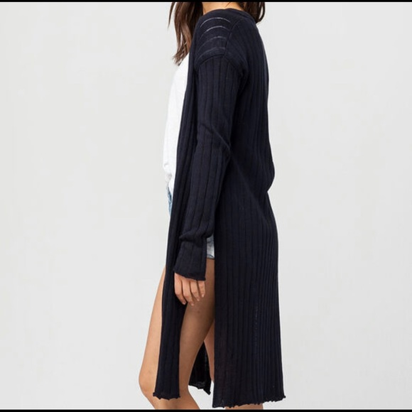 Free People // Linen & Cotton Long Ribbed Cardigan